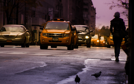 Cabs and Woman in NYC